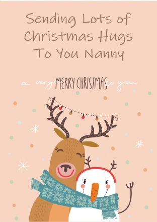 Personalised Deer & Snowman Christmas Hugs Christmas Card